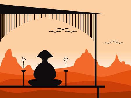 illustration of a person meditating at sundown illustration