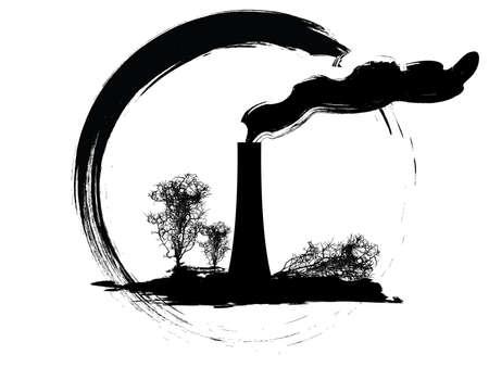 vector illustration of a grunge pollution icon Illustration