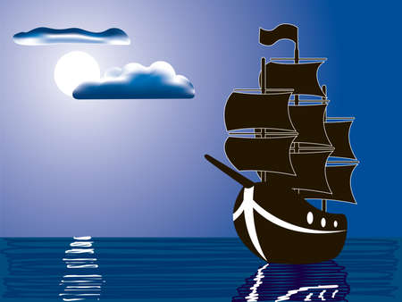 vector illustration of a silhouette of sailing ship illuminated by full moon Vector