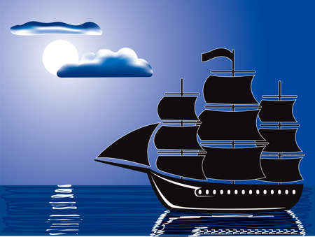 ferry boat: vector illustration of a silhouette of sailing ship illuminated by full moon