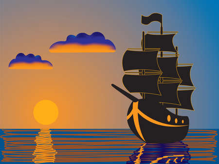 ferry boat: silhouette of a ship sailing at sunset