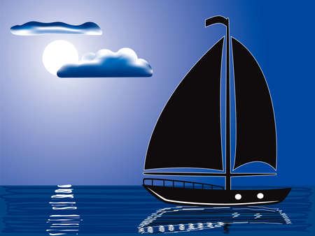 vector illustration of a silhouette of sailing yacht illuminated by full moon Vector
