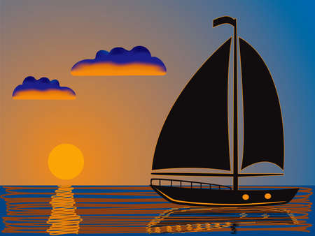 silhouette of a yacht sailing at sunset