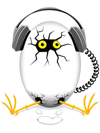 vector illustration  hen: chicken baby in an egg with headphones