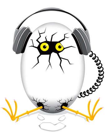 pollo bebé en un huevo con auriculares