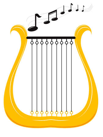 vector illustration of a harp and notes Vector