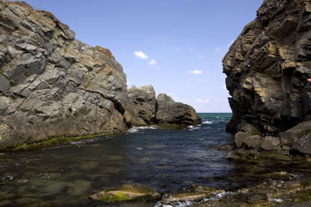 Rocky coastline of Silistar, Bulgaria, Black Sea