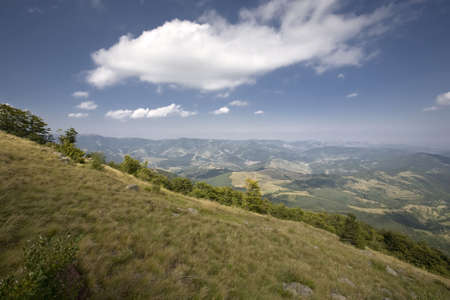 Mountain landscape with deep blue sky. Location: Bulgaria, Balkan Mountains Range Stock Photo