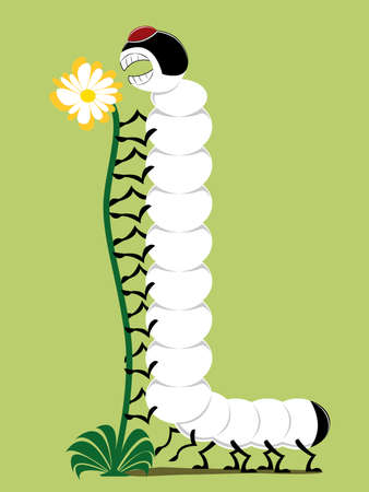 vector illustration of a caterpillar eating a flower