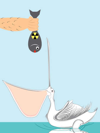 vector illustration of a pelican eating toxic fish. Pollution concept