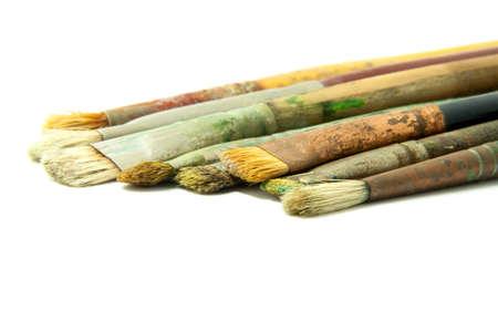 paintbrushes: old used paintbrushes isolated on a white background