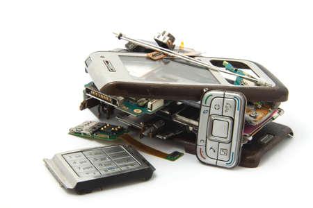 dismounted: Broken phone isolated on white background Stock Photo
