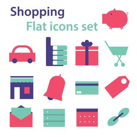 gift basket: Shopping flat mobile web site icons set vector