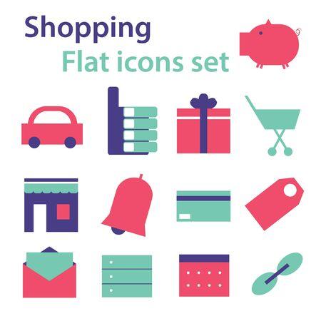 Winkelen platte mobiele website pictogrammen set vector