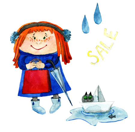 little girl with red hair goes shopping, shopping bag, umbrella, rubber boots, watercolor illustration