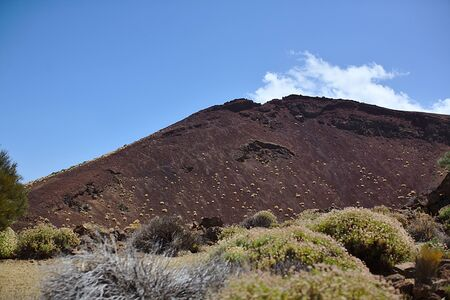 Dark cliff in a national park, in the mountains, landscape with plants, texture, Tenerife Banque d'images - 125338031