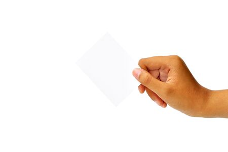 Close-up of an empty business card in a woman s hand isolated on white   photo