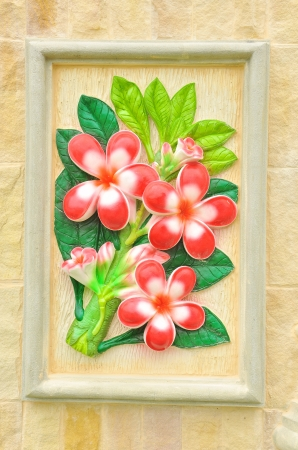 flower stucco , thai style on the Wall photo