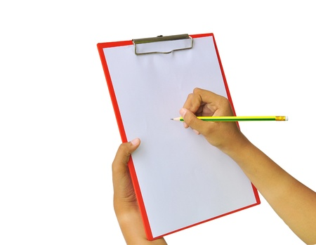 clipboard isolated: hands with sheet of paper and pencil on clipboard isolated on white background