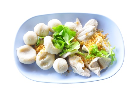 scald:  fish meat and fish ball  scald  in dish Stock Photo