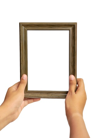hand carved: Picture frame in woman hand isolated on white background  Stock Photo