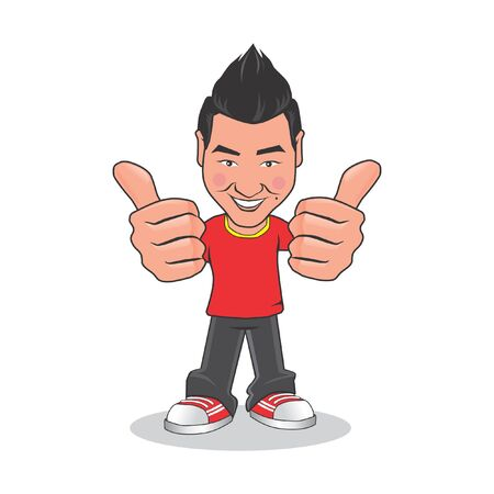 Asian men cartoon give two thumbs up