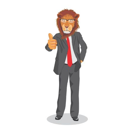 Lion wearing suit give thumbs up 向量圖像