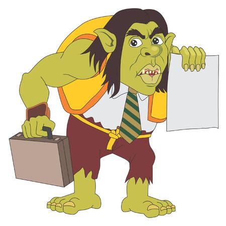 Troll holding suitcase and paper