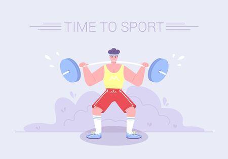 A strong tense athlete raises a heavy barbell. Healthy lifestyle sport activities character workout concept. Gym exercises cartoon flat vector Illustration. Ilustração