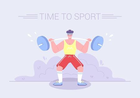 A strong tense athlete raises a heavy barbell. Healthy lifestyle sport activities character workout concept. Gym exercises cartoon flat vector Illustration. Illustration