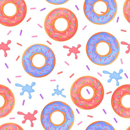 Sweet colorful baked glazed donuts or doughnuts Seamless pattern with sprinkles and splashes Ilustração