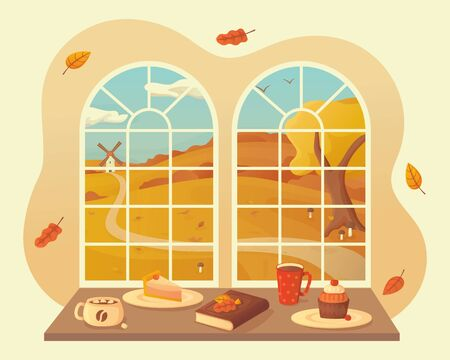 Autumn landscape with mushrooms and fallen leaves view window background