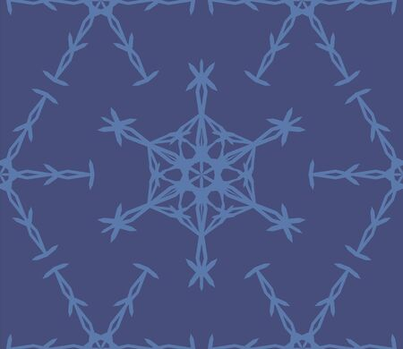 Geometric snowflake seamless pattern. Monochrome blue vector illustration.