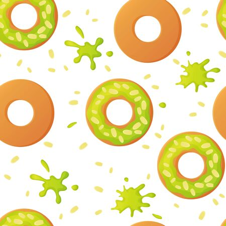 Sweet pistachio colorful baked green glazed donuts or doughnuts with nuts seamless pattern with sprinkles and splashes in flat style Vector Ilustração