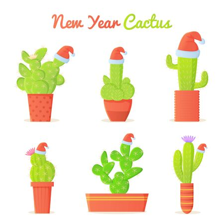 Cartoon cacti in Christmas Santa s hat set. Winter holidays in dessert concept. New year Mexico vector illustration isolated on white background.