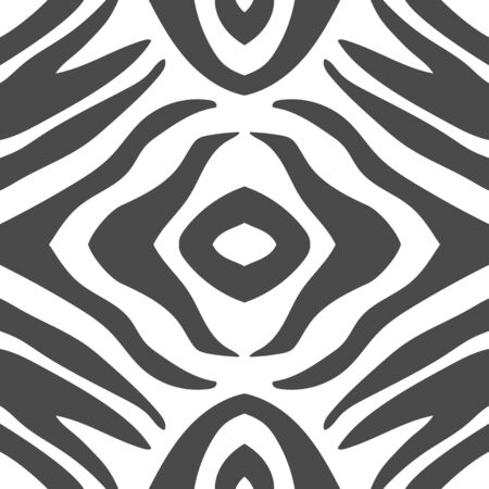 Geometric zebra stripes seamless pattern background. Abstract Black and White animal print. Can be used as fabric texrure or wallpaper. Monochrome vector illustration
