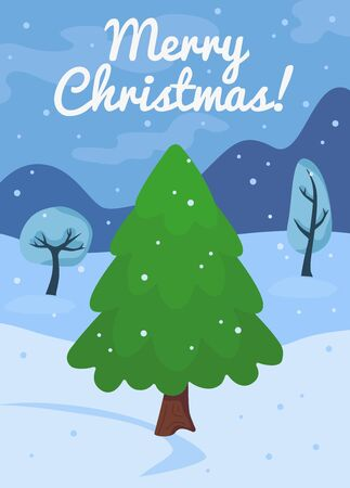 Cartoon Christmas tree or pine card template. New year celebration concept with green pine and snow. Winter landscape background with december fir symbol flat vector illustration.