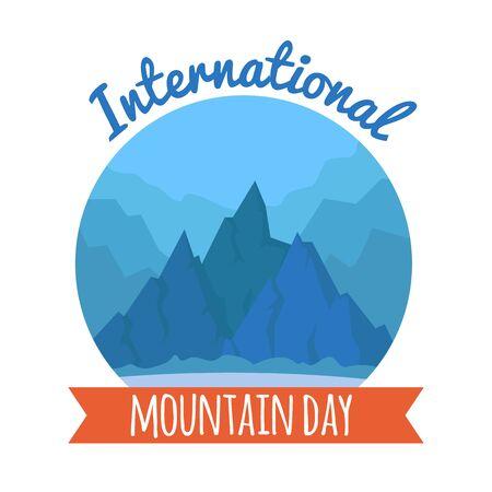 International world mountain day card December 11th hohiday. Peaks geometric nature landscape flat vector illustration banner, background, concept.
