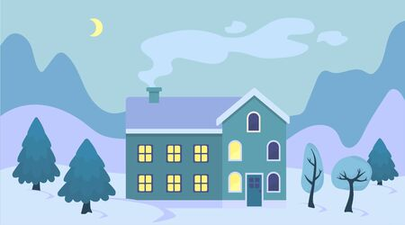 Cute cartoon Christmas house in the snow landscape illustration. Winter scenery retro town exterior with Christmas tree and mountains. Flat vector winter concept.