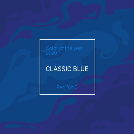 Color of the year 2020 Classic blue banner. Trendy Pantone swatch palette template. Elegant Wavy texture. Square abstract vector background Ilustração
