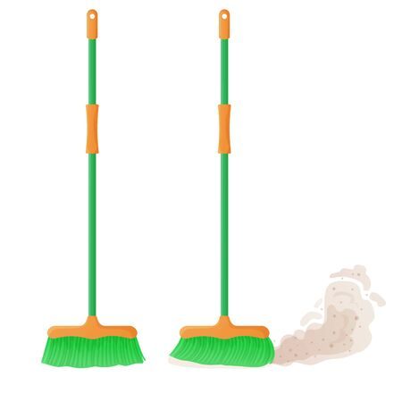 Cartoon plastic broom set. A broom sweeps dust and dirt. Housework, cleaning services, household,concept. Equipment, tools for cleaning element isolated on white background. Stock vector illustration
