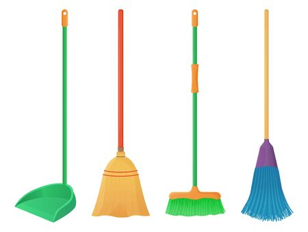 Cartoon plastic and wood broom set. A broom sweeps dust and dirt on scoop. Housework, cleaning services, household,concept. Equipment for cleaning element isolated white background. Stock vector Ilustração