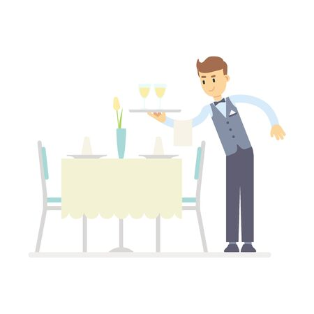 Flat waiter holding glass of wine on tray, serves the table. A table in the restaurant is served for dinner. Service staff profession concept. Stock vector illustration isolated on white background