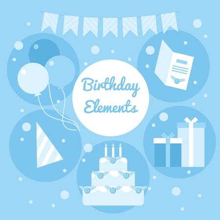 Blue cartoon birthday elements. Decoration objects, garlands, cake, baloons, card, gifts and party hat. Stock flat vector illustration Ilustração