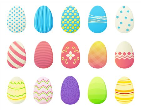 Cartoon Easter eggs set with different colorfur gradien paint,stripes, dots and patterns. Spring holiday concept in flat style. Stock vector illustration isolated on white background Ilustração