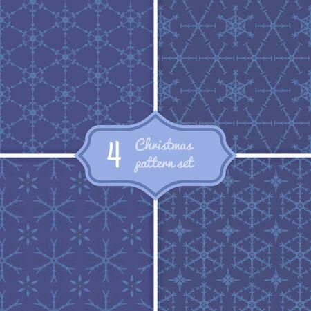 Geometric snowflake seamless pattern set. Monocrome winter blue print,wallpaper, background. Stock vector illustration in flat style