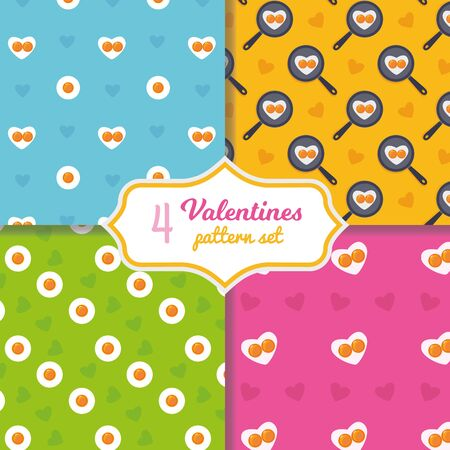 Cute cartoon seamless pattern set. Heart shape fried eggs on the pan. Valentines day concept. Easter holiday background. Stock vector illustration in cartoon flat style Ilustração
