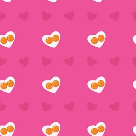 Cute flat seamless valemtine pink pattern. Heart-shape fried eggs and hearts. Valentines day holiday concept. Easter wallpaper or background. Stock vector illustration in cartoon style