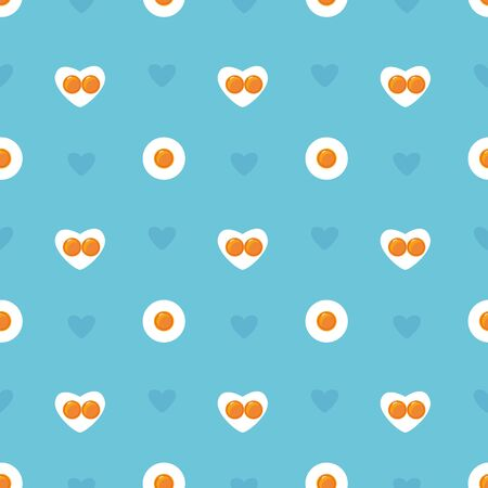 Happy Valentines Day seamless blue pattern. Heart shape fried eggs on the pan. Valentines day concept. Easter holiday background. Stock vector illustration in cartoon flat style