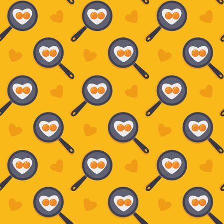 Cartoon sweet seamless yellow pattern. Heart shape fried eggs on the pan. Valentines day concept. Easter holiday wallpaper or background. Stock vector illustration in flat style Ilustração